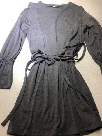 Vestido gris manga larga