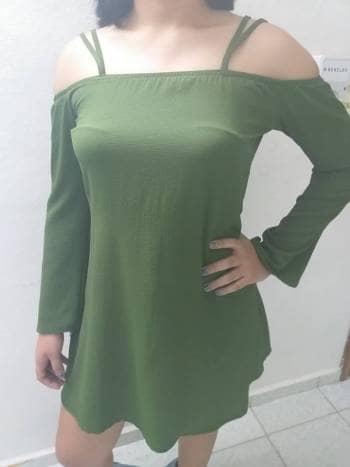 2x1 REMATO Vestido Verde suelto con diseño cruzado