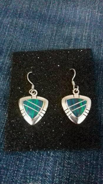 Aretes opalo azul verde plata