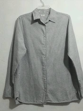 Blusa tipo camisa Gris M-L 100%algodon