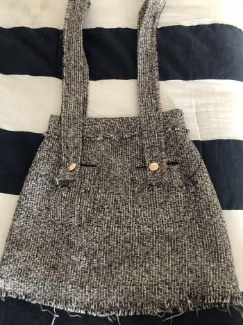 Fringe tweed trim skirt