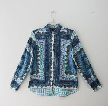 Camisa de estampado azul