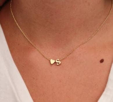 Pack collar corazon/letra con pulsera chapa de oro