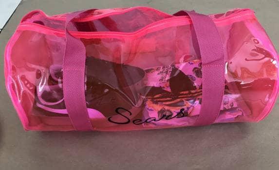 Maleta transparente rosa