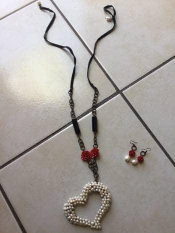 Set de 2 collares corazón (con aretes)