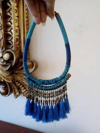 4edafa649 Collar azul eléctrico y dorado - GoTrendier - 802817