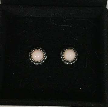 Aretes opalo rosa y plata