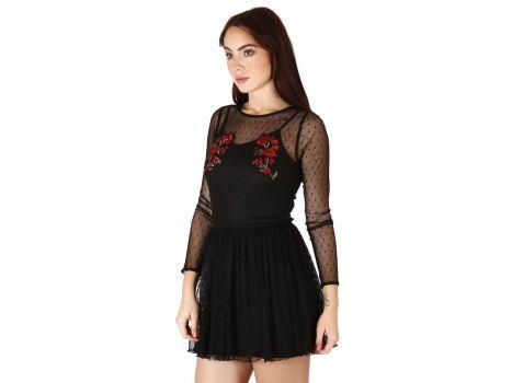 Vestido negro con bordado de flores